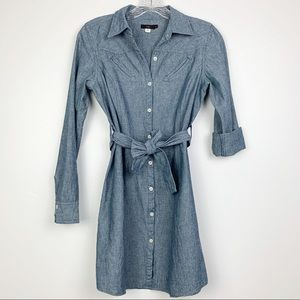 Anthropologie Lux Chambray Long Sleeve Dress S